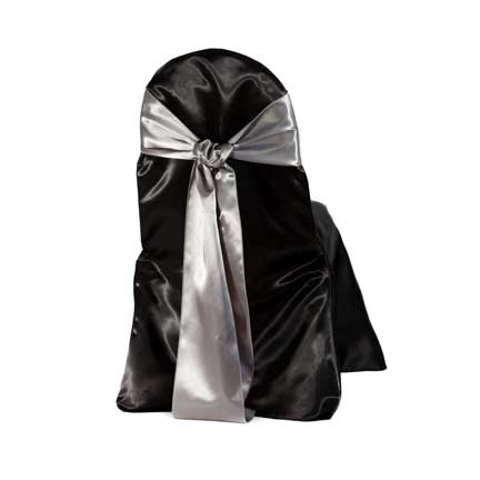 Chair Cover, Black Satin