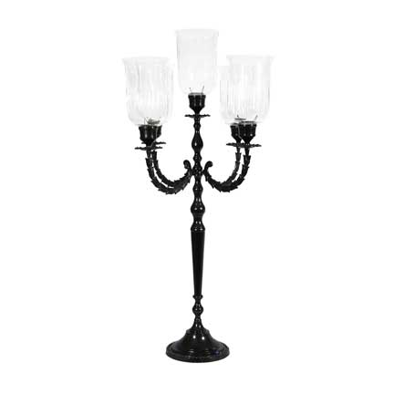 Black Candelabra with Grand Hurricanes