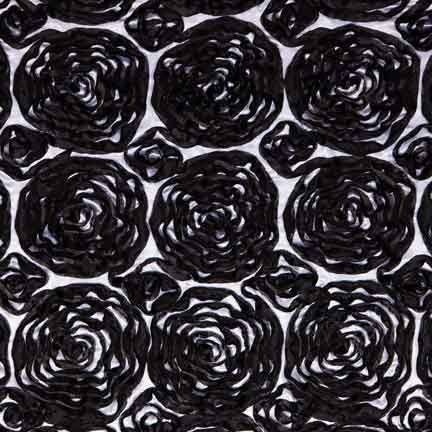 Tablecloth, Ribbon Rose Black And White