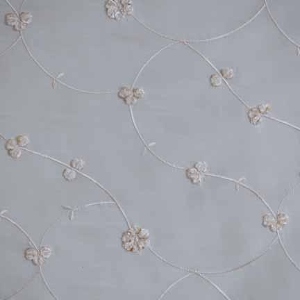 Tablecloth, Cream Embroidered Taffeta