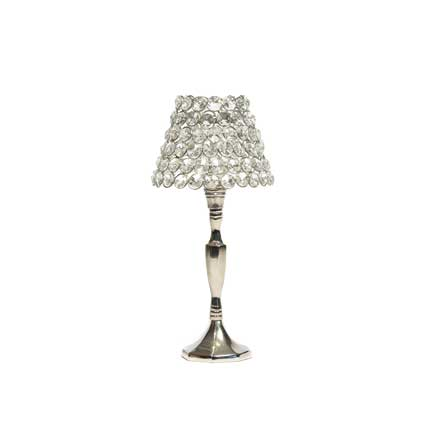 Crystal Pave Candle Lamp - Silver