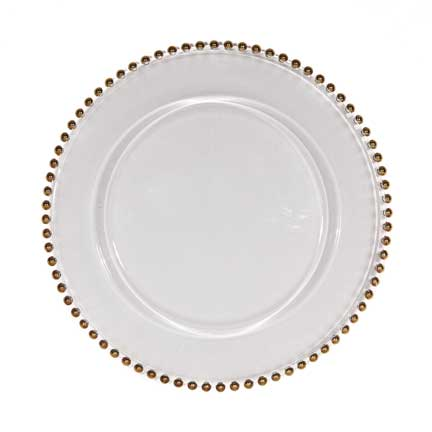 Charger Plate, Glass with Gold Beaded Edge