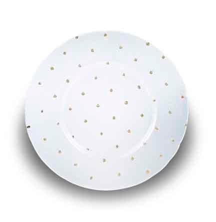Charger Plate, Glass with Gold Dot
