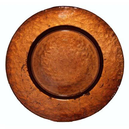 Charger Plate, Glass Copper Leaf