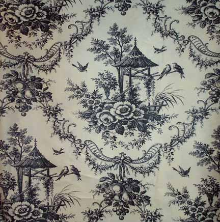 Tablecloth, Toile - Black on White