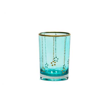 Turquoise Glass Votive with Gold Dots