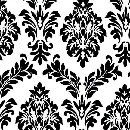 Tablecloth, Velvet - White with Black Flocking