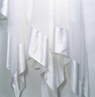 Tablecloth, White Sheer with Satin Edge
