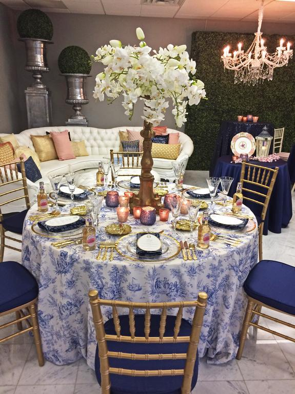 Linen effects gallery minneapolis mn event and wedding rental toile blue blush pink and navy showroom linen effects wedding party junglespirit Gallery